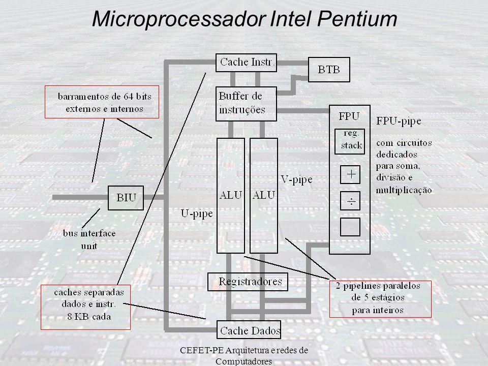 CEFET-PE Arquitetura e redes de Computadores Microprocessador Intel Pentium 2 pipelines para inteiros, operando em paralelo cada pipeline inteiro cons