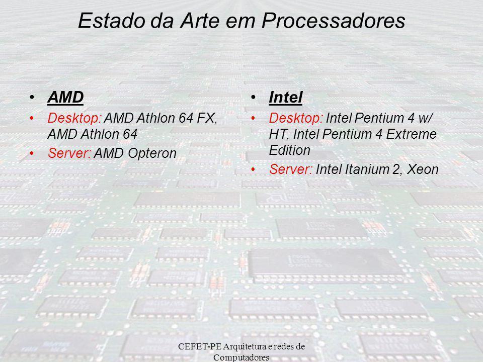 CEFET-PE Arquitetura e redes de Computadores Comparativo entre Processadores Intel e AMD Intel foi isoladamente a líder em fabricação de CPUs até iníc