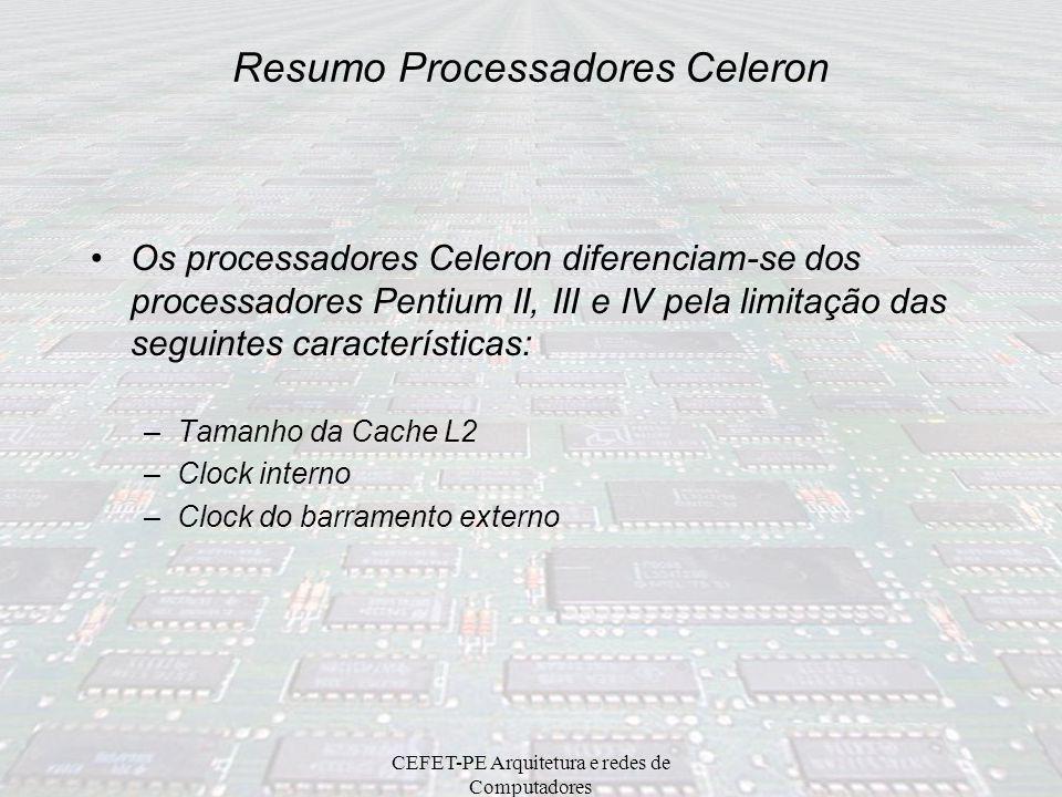 CEFET-PE Arquitetura e redes de Computadores Estado da Arte em Processadores AMD Desktop: AMD Athlon 64 FX, AMD Athlon 64 Server: AMD Opteron Intel De