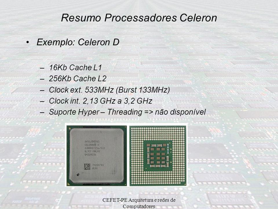 CEFET-PE Arquitetura e redes de Computadores Resumo Processadores Sempron ProcessadorClock InternoClock ExternoCache L1Cache L2Soquete Sempron 2200+1,