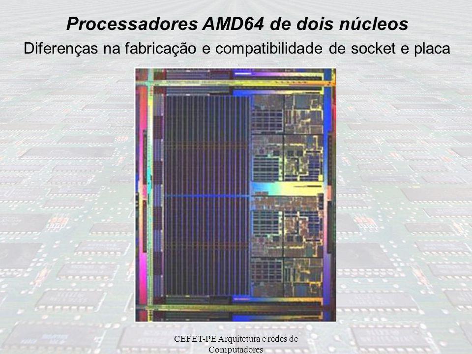 CEFET-PE Arquitetura e redes de Computadores Processadores AMD64 de dois núcleos Diferenças na fabricação e compatibilidade de socket e placa Núcleo A