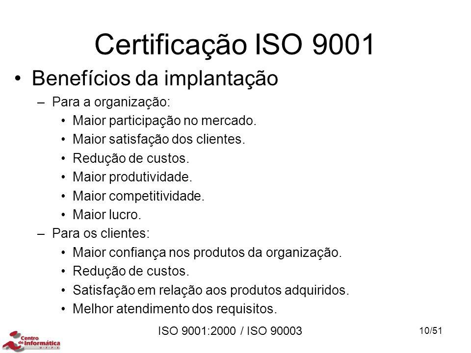ISO 9001:2000 / ISO 90003 Certificação ISO 9001 Benefícios da implantação –Para a organização: Maior participação no mercado. Maior satisfação dos cli