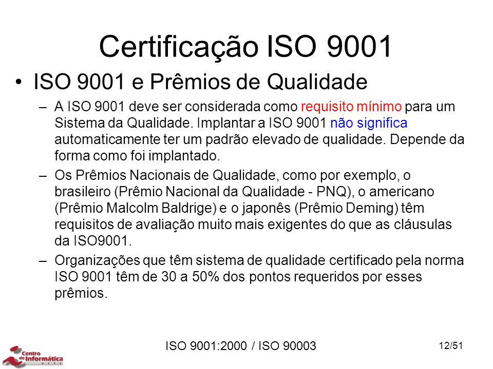 ISO 9001:2000 / ISO 90003 Certificação ISO 9001 ISO 9001 e Prêmios de Qualidade –A ISO 9001 deve ser considerada como requisito mínimo para um Sistema