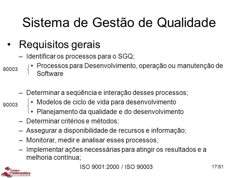ISO 9001:2000 / ISO 90003 Requisitos gerais –Identificar os processos para o SGQ; Processos para Desenvolvimento, operação ou manutenção de Software –