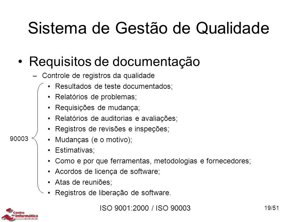 ISO 9001:2000 / ISO 90003 Requisitos de documentação –Controle de registros da qualidade Resultados de teste documentados; Relatórios de problemas; Re