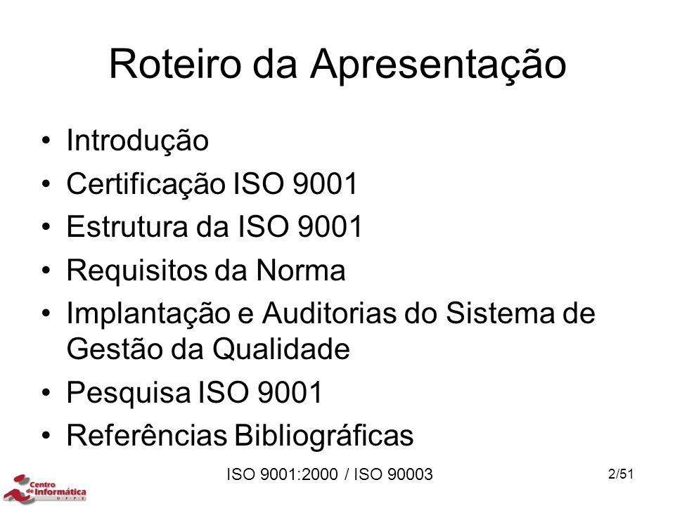 ISO 9001:2000 / ISO 90003 Roteiro da Apresentação Introdução Certificação ISO 9001 Estrutura da ISO 9001 Requisitos da Norma Implantação e Auditorias