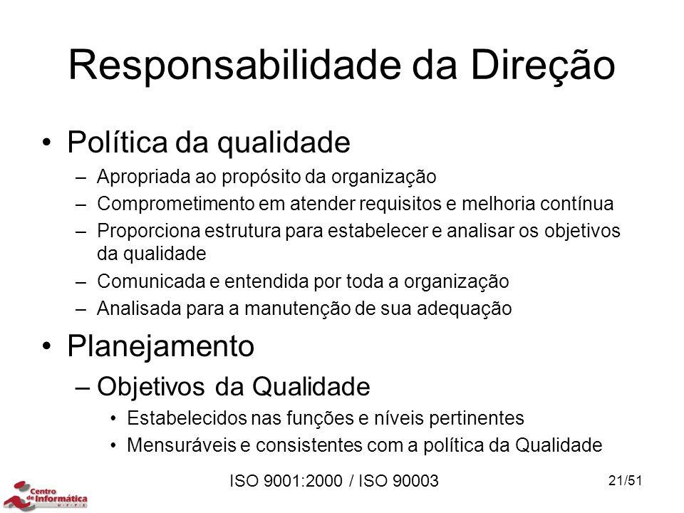 ISO 9001:2000 / ISO 90003 Responsabilidade da Direção Política da qualidade –Apropriada ao propósito da organização –Comprometimento em atender requis