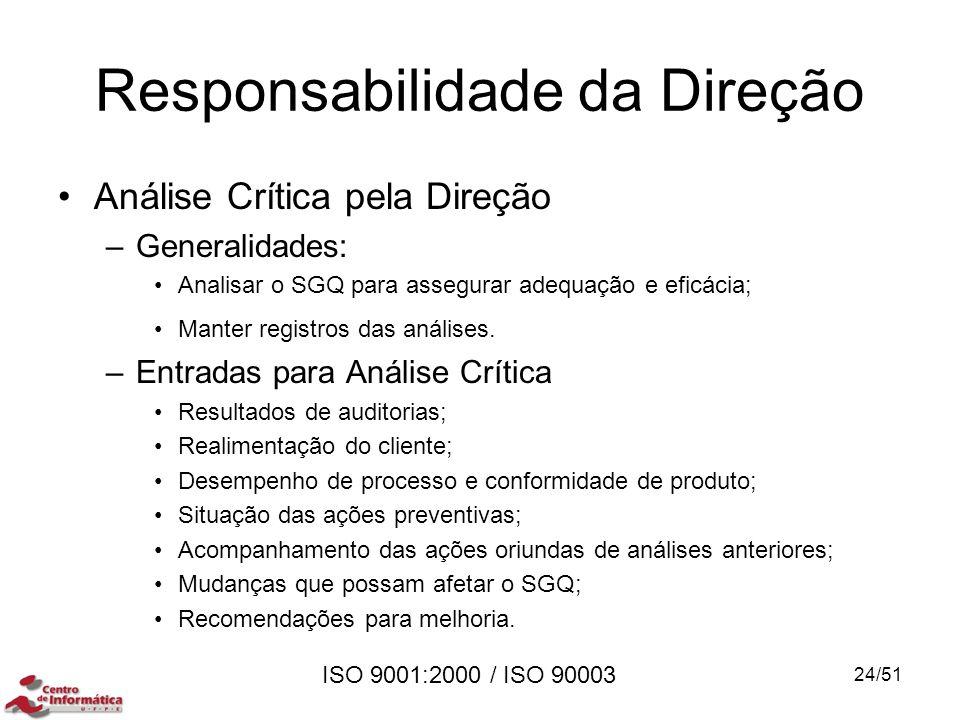 ISO 9001:2000 / ISO 90003 Responsabilidade da Direção Análise Crítica pela Direção –Generalidades: Analisar o SGQ para assegurar adequação e eficácia;