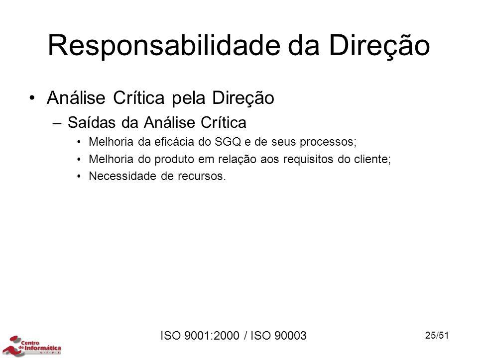 ISO 9001:2000 / ISO 90003 Responsabilidade da Direção Análise Crítica pela Direção –Saídas da Análise Crítica Melhoria da eficácia do SGQ e de seus pr