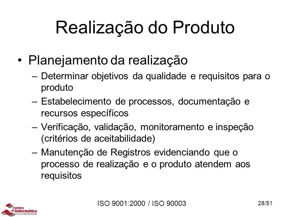ISO 9001:2000 / ISO 90003 Realização do Produto Planejamento da realização –Determinar objetivos da qualidade e requisitos para o produto –Estabelecim