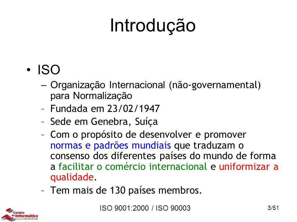 ISO 9001:2000 / ISO 90003 Introdução ISO –Organização Internacional ( não-governamental) para Normalização –Fundada em 23/02/1947 –Sede em Genebra, Su