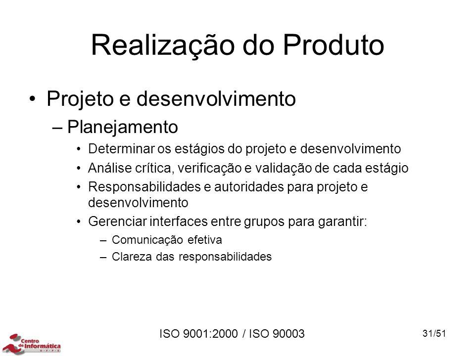 ISO 9001:2000 / ISO 90003 Realização do Produto Projeto e desenvolvimento –Planejamento Determinar os estágios do projeto e desenvolvimento Análise cr