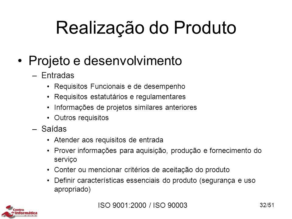 ISO 9001:2000 / ISO 90003 Realização do Produto Projeto e desenvolvimento –Entradas Requisitos Funcionais e de desempenho Requisitos estatutários e re