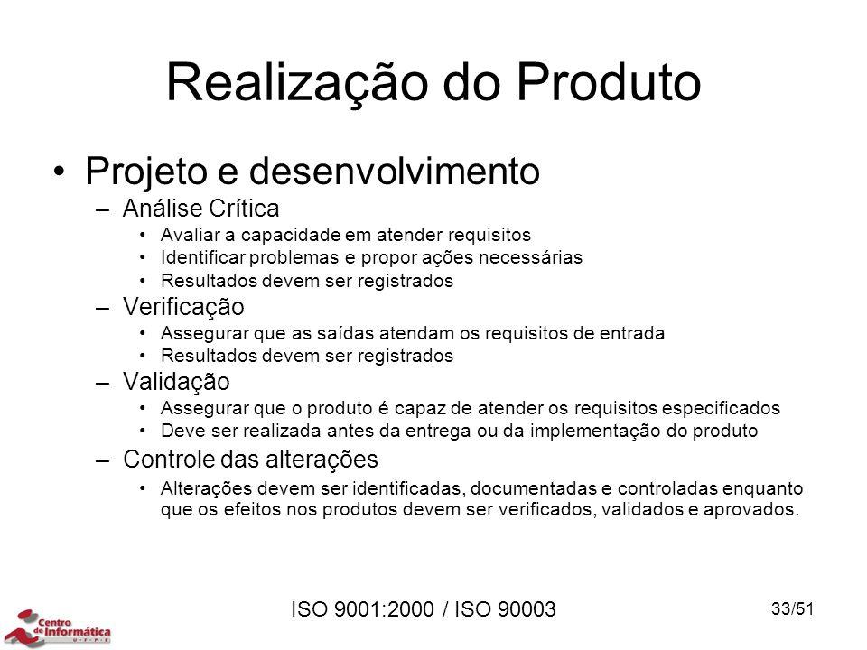 ISO 9001:2000 / ISO 90003 Realização do Produto Projeto e desenvolvimento –Análise Crítica Avaliar a capacidade em atender requisitos Identificar prob