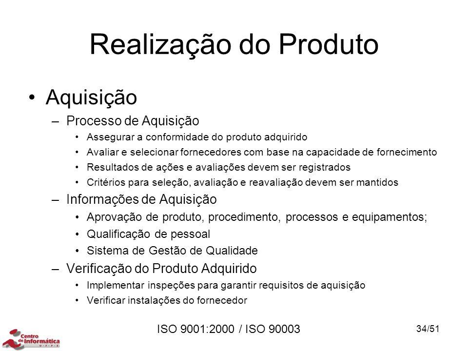 ISO 9001:2000 / ISO 90003 Realização do Produto Aquisição –Processo de Aquisição Assegurar a conformidade do produto adquirido Avaliar e selecionar fo