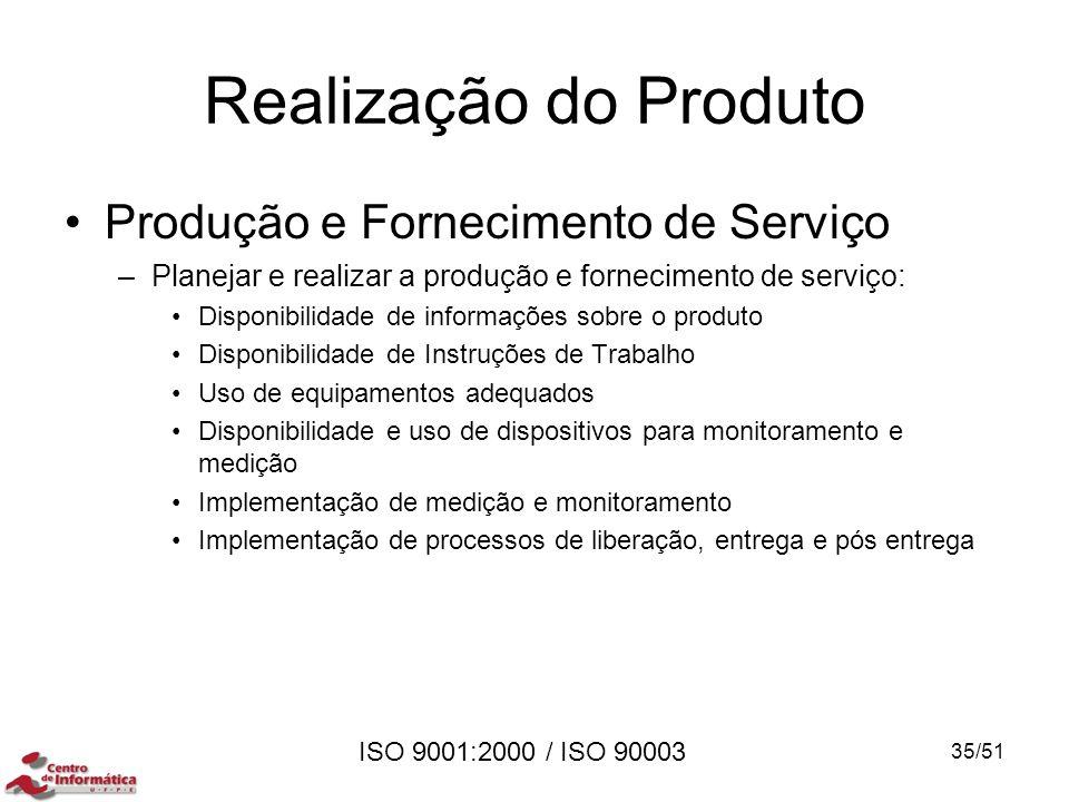 ISO 9001:2000 / ISO 90003 Realização do Produto Produção e Fornecimento de Serviço –Planejar e realizar a produção e fornecimento de serviço: Disponib