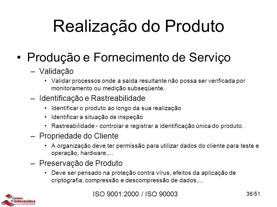ISO 9001:2000 / ISO 90003 Realização do Produto Produção e Fornecimento de Serviço –Validação Validar processos onde a saída resultante não possa ser