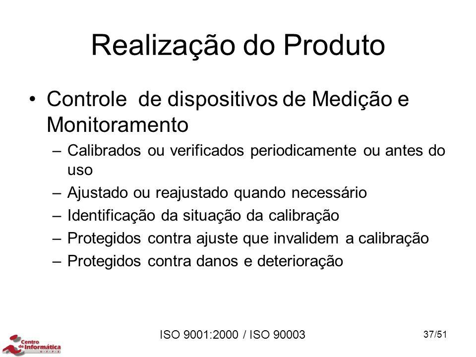 ISO 9001:2000 / ISO 90003 Realização do Produto Controle de dispositivos de Medição e Monitoramento –Calibrados ou verificados periodicamente ou antes