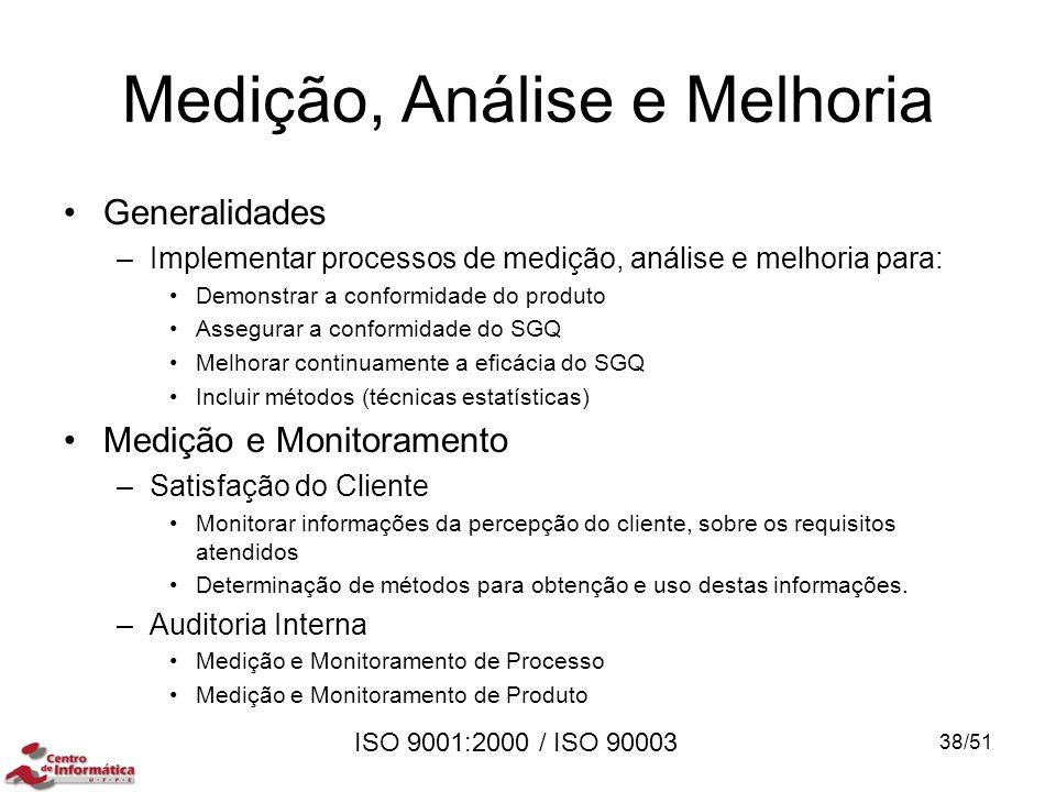 ISO 9001:2000 / ISO 90003 Medição, Análise e Melhoria Generalidades –Implementar processos de medição, análise e melhoria para: Demonstrar a conformid