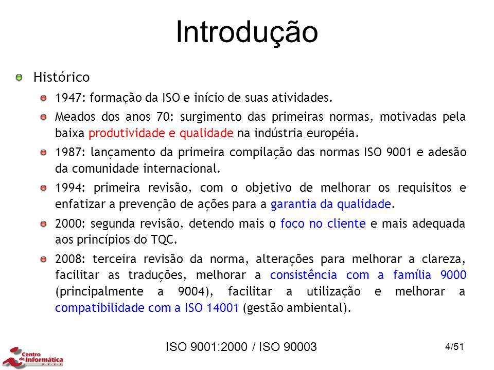 ISO 9001:2000 / ISO 90003 Introdução Histórico 1947: formação da ISO e início de suas atividades. Meados dos anos 70: surgimento das primeiras normas,