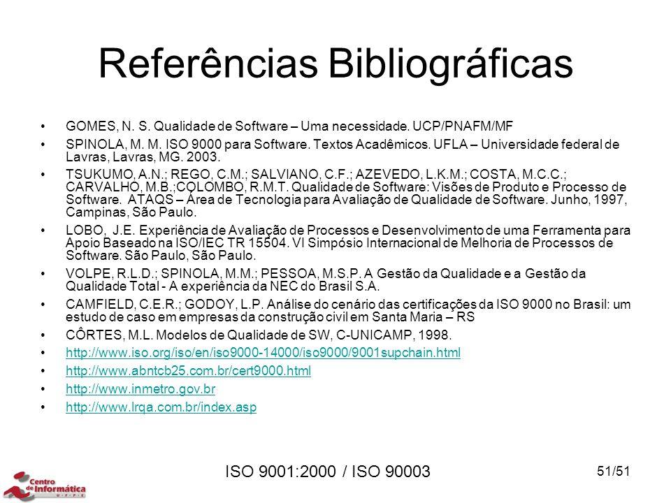 ISO 9001:2000 / ISO 90003 Referências Bibliográficas GOMES, N. S. Qualidade de Software – Uma necessidade. UCP/PNAFM/MF SPINOLA, M. M. ISO 9000 para S