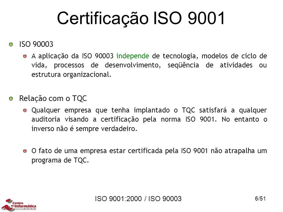 ISO 9001:2000 / ISO 90003 Certificação ISO 9001 ISO 90003 A aplicação da ISO 90003 independe de tecnologia, modelos de ciclo de vida, processos de des