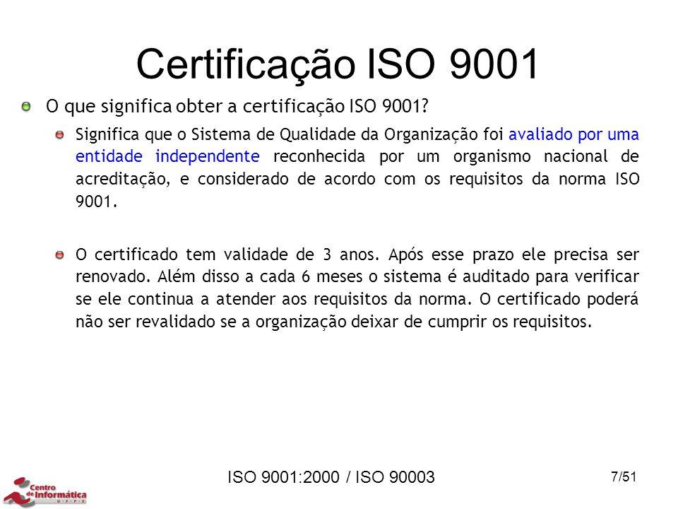 ISO 9001:2000 / ISO 90003 Certificação ISO 9001 O que significa obter a certificação ISO 9001? Significa que o Sistema de Qualidade da Organização foi