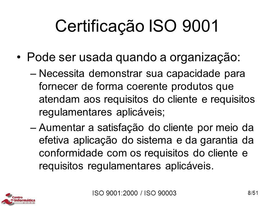 ISO 9001:2000 / ISO 90003 Certificação ISO 9001 Pode ser usada quando a organização: –Necessita demonstrar sua capacidade para fornecer de forma coere