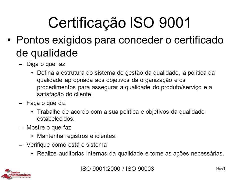 ISO 9001:2000 / ISO 90003 Certificação ISO 9001 Pontos exigidos para conceder o certificado de qualidade –Diga o que faz Defina a estrutura do sistema
