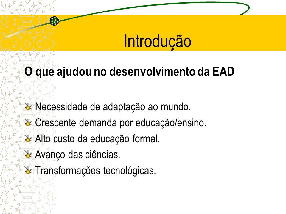 Introdução O que ajudou no desenvolvimento da EAD Necessidade de adaptação ao mundo. Crescente demanda por educação/ensino. Alto custo da educação for