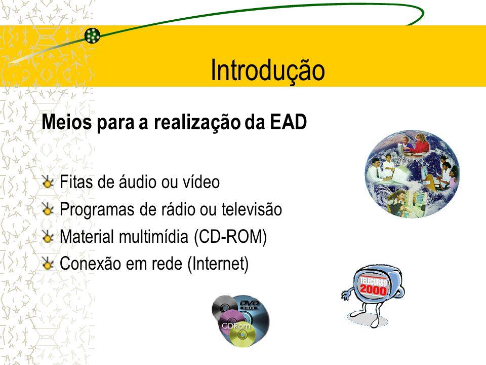 Introdução Meios para a realização da EAD Fitas de áudio ou vídeo Programas de rádio ou televisão Material multimídia (CD-ROM) Conexão em rede (Intern