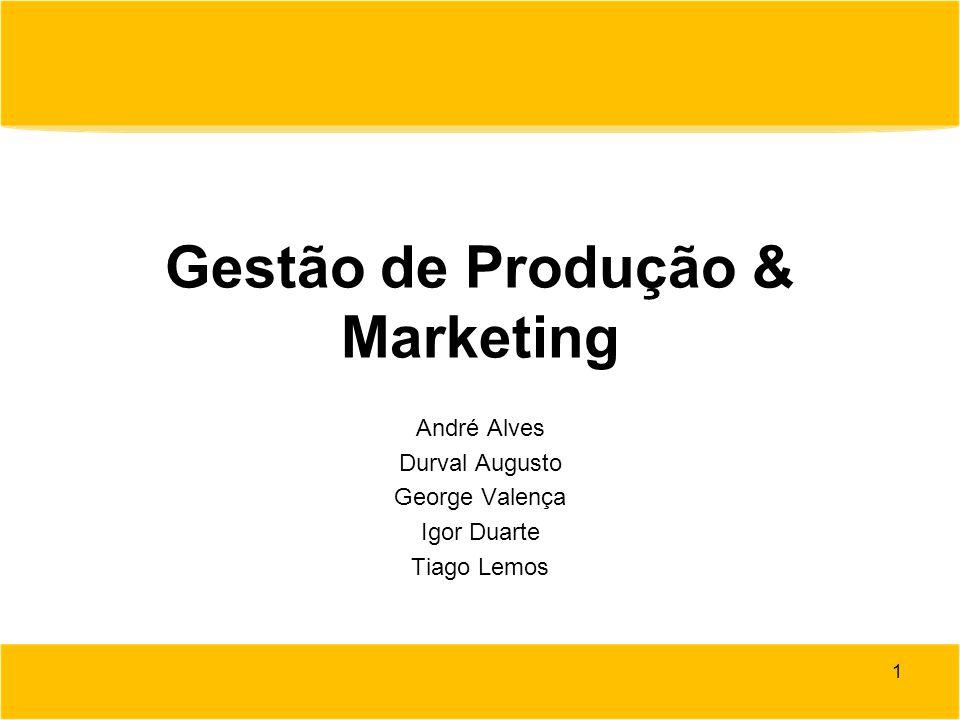 Gestão de Produção & Marketing André Alves Durval Augusto George Valença Igor Duarte Tiago Lemos 1