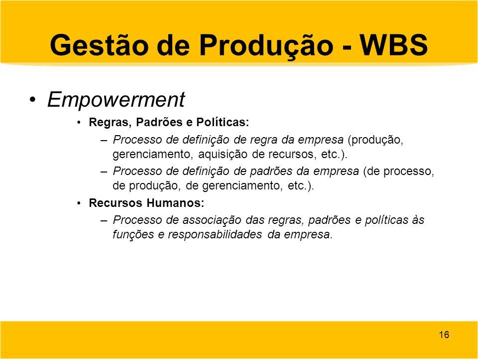Gestão de Produção - WBS Empowerment Regras, Padrões e Políticas: –Processo de definição de regra da empresa (produção, gerenciamento, aquisição de re
