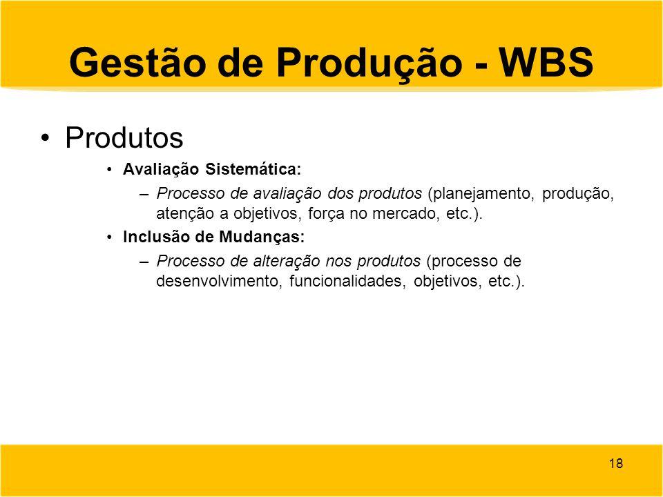 Gestão de Produção - WBS Produtos Avaliação Sistemática: –Processo de avaliação dos produtos (planejamento, produção, atenção a objetivos, força no me