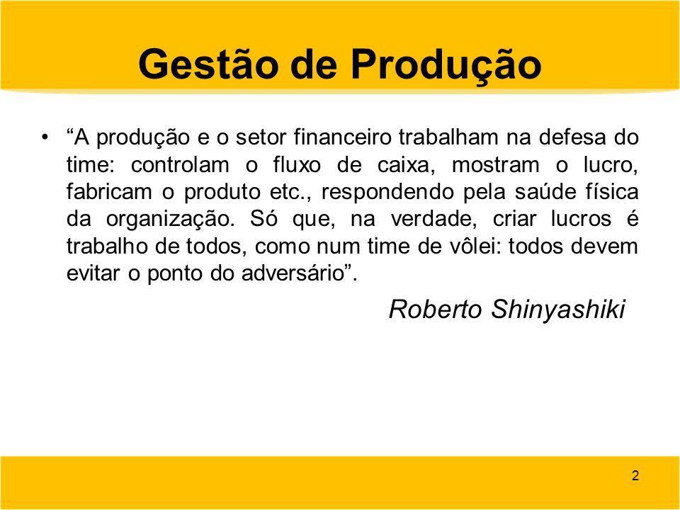 """Gestão de Produção """"A produção e o setor financeiro trabalham na defesa do time: controlam o fluxo de caixa, mostram o lucro, fabricam o produto etc.,"""