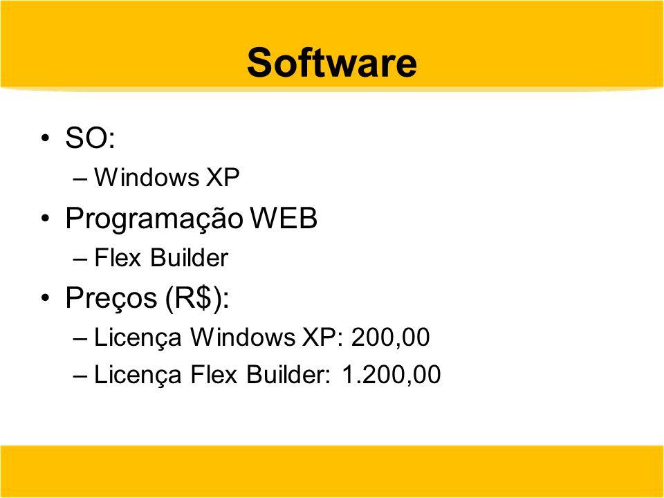 Software SO: –Windows XP Programação WEB –Flex Builder Preços (R$): –Licença Windows XP: 200,00 –Licença Flex Builder: 1.200,00
