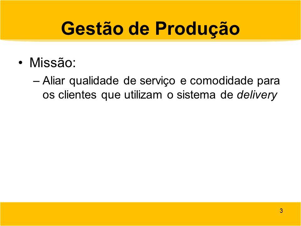 Gestão de Produção Visão: –Em um ano, trazer os maiores players do setor de fast food para a nossa cartela de clientes.
