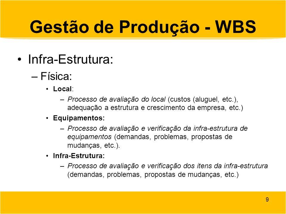 Gestão de Produção - WBS Infra-Estrutura: –Física: Local: –Processo de avaliação do local (custos (aluguel, etc.), adequação a estrutura e crescimento