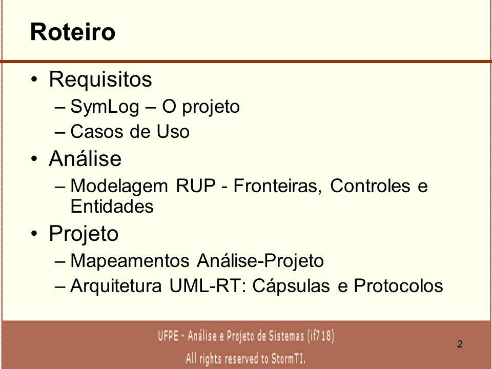 2 Roteiro Requisitos –SymLog – O projeto –Casos de Uso Análise –Modelagem RUP - Fronteiras, Controles e Entidades Projeto –Mapeamentos Análise-Projeto
