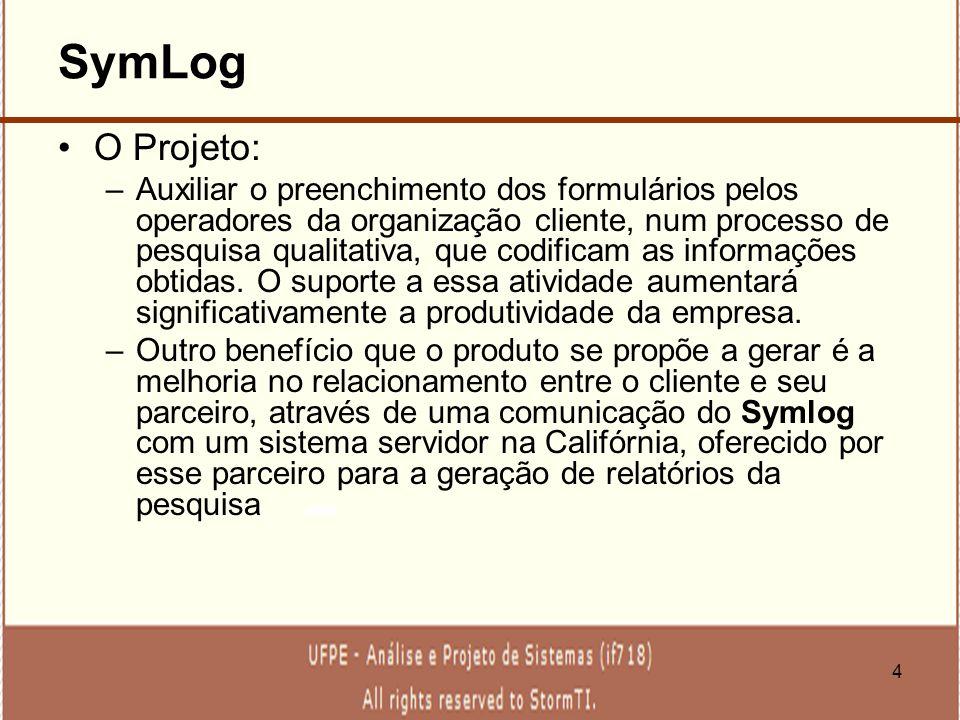 4 SymLog O Projeto: –Auxiliar o preenchimento dos formulários pelos operadores da organização cliente, num processo de pesquisa qualitativa, que codif