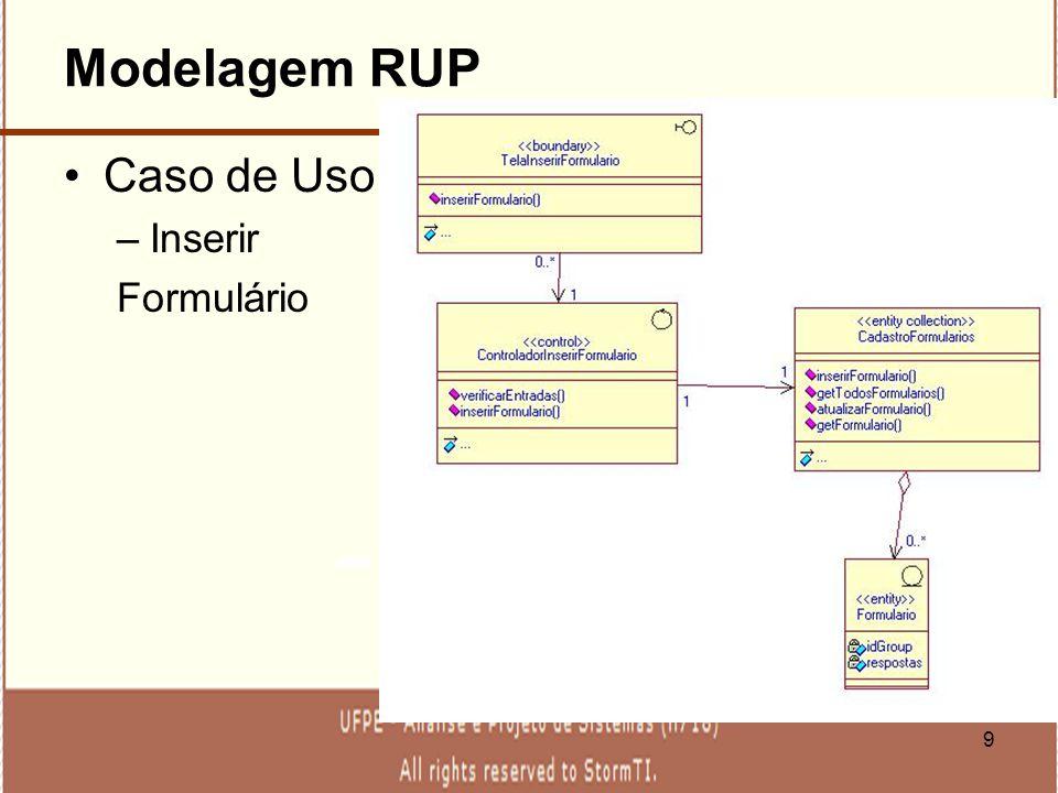 9 Modelagem RUP Caso de Uso –Inserir Formulário