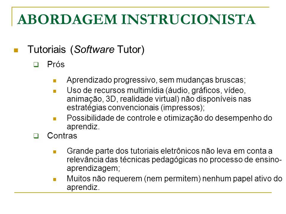 Tutoriais (Software Tutor)  Prós Aprendizado progressivo, sem mudanças bruscas; Uso de recursos multimídia (áudio, gráficos, vídeo, animação, 3D, rea