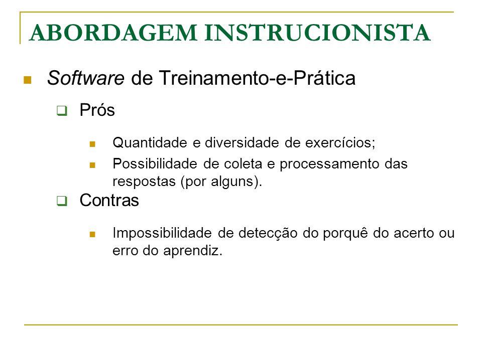 Software de Treinamento-e-Prática  Prós Quantidade e diversidade de exercícios; Possibilidade de coleta e processamento das respostas (por alguns). 