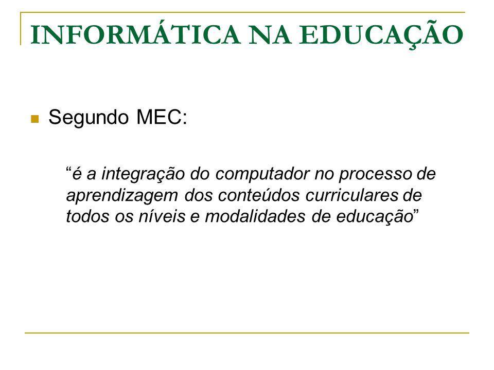 INFORMÁTICA NA EDUCAÇÃO Novo Processo de Ensino-Aprendizagem  Uso de tecnologias computacionais como uma nova mídia educacional  O computador é utilizado como ferramenta : Educacional De Complementação De Aperfeiçoamento De possível mudança na qualidade de ensino