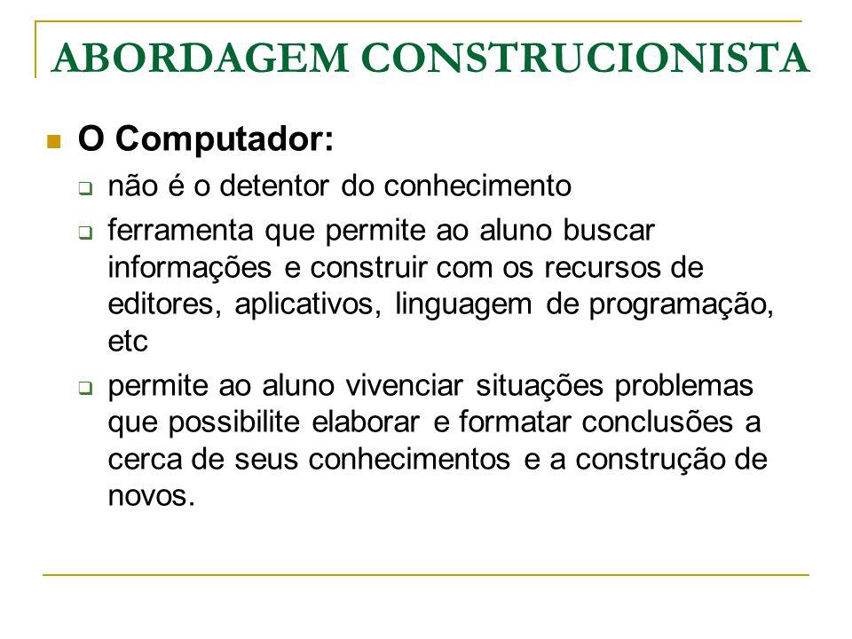 O Computador:  não é o detentor do conhecimento  ferramenta que permite ao aluno buscar informações e construir com os recursos de editores, aplicat