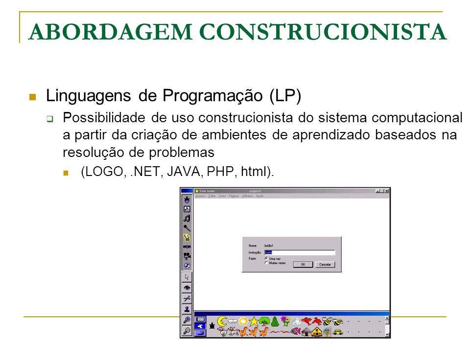Linguagens de Programação (LP)  Possibilidade de uso construcionista do sistema computacional a partir da criação de ambientes de aprendizado baseado