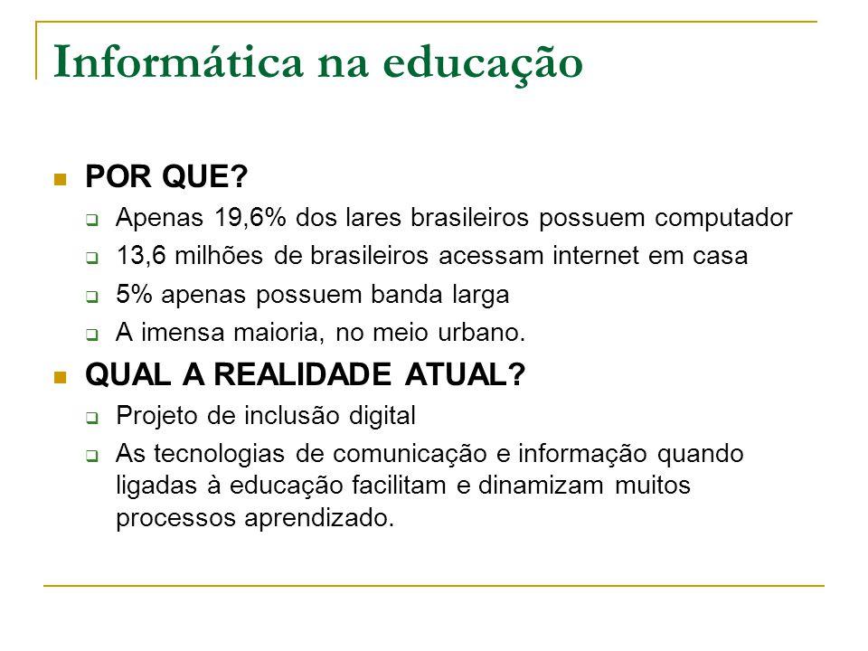 Informática na educação ONDE ACONTECE.