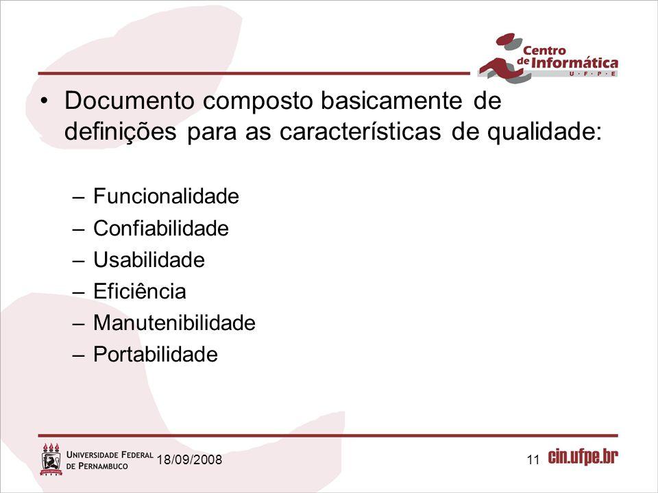 18/09/200811 Documento composto basicamente de definições para as características de qualidade: –Funcionalidade –Confiabilidade –Usabilidade –Eficiência –Manutenibilidade –Portabilidade
