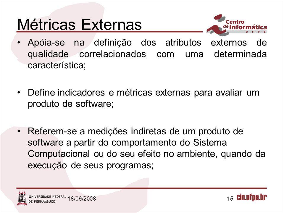 18/09/200815 Métricas Externas Apóia-se na definição dos atributos externos de qualidade correlacionados com uma determinada característica; Define in