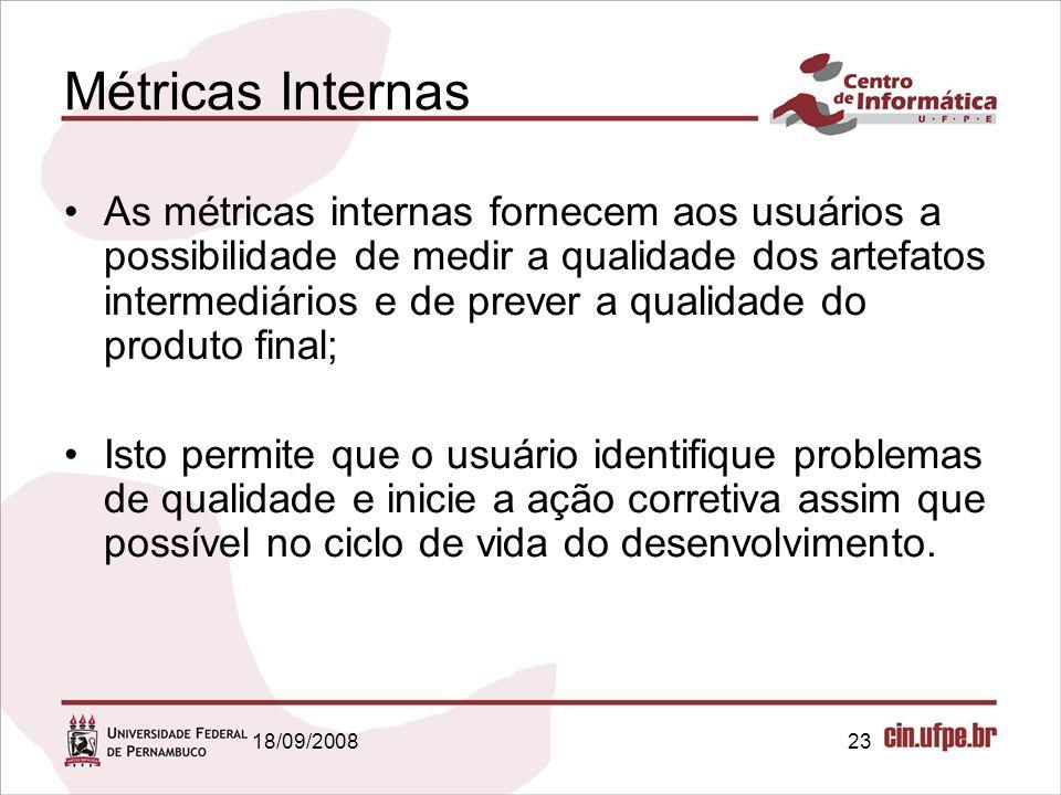 18/09/200823 Métricas Internas As métricas internas fornecem aos usuários a possibilidade de medir a qualidade dos artefatos intermediários e de preve